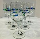 6 Wine Water Goblets Glasses Mexico Mexican blue green hand blown 8