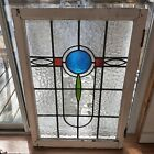 LARGE 19th C Antique Art Deco Cross Architectural Stained Glass Window