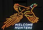 New Pheasant Welcome Hunters Flying Duck Neon Light Sign 32x24 Glass Bar