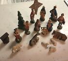 VINTAGE NATIVITY CHRISTMAS SCENE 18 PIECE FIGURINES w Sheep  Gurley Tree Italy