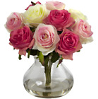 Assorted Pastel Roses In Vase Faux Water Artificial Silk Glass Bouquet Gift Idea