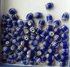 Vintage Group of 70 Red White Blue Italian Chevron Barrel Beads 5mm x 7mm