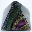 RARE 2016 MULTI COLORED LAYERED DICHROIC ART GLASS PYRAMID PAPERWEIGHT SCULPTURE