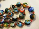 Vintage 1960s Knotted Italian Millefiori Art Glass Beaded 36 Murano Necklace