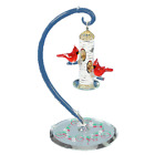 Glass Baron Cardinals Delight Feeder Figurine Accented with Swarovski Crystals
