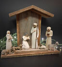 Barn Wood Handcrafted Creche For Willow Tree Nativity for mantle figs not incl