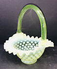Fenton Basket Coinspot Topaz Opalescent Ruffled Yellow Glass EUC
