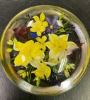 Rick Ayotte Flowers with Blue Firefly Glass Paperweight Signed TMR