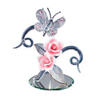 Glass Baron Crystal Butterfly with Pink Roses 75 tall P7 435P
