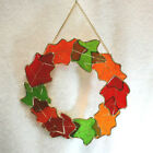Stained Glass Fall Leaves Sun Catcher Hanging Wreath 11 Fall Harvest New S9508