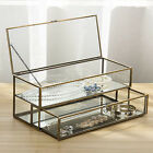 MyGift Vintage Brass Metal and Glass Mirrored Shadow Box Jewelry Display Case