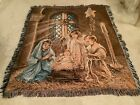 Dona Gelsinger Christmas Pageant Nativity Fringed Tapestry Throw Blanket 50x60