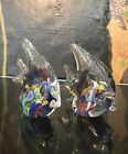 Vintage MCM Lot Pair Of Two 2 Matching Angel Fish Glass MURANO Style Unsigned