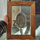 Vintage Leaded Beveled Glass Window Pane w Etched Cattails