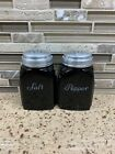 Depression Black Amethyst Glass Salt And Pepper Shaker Set Roman Arches