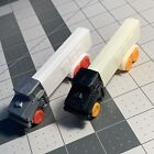 Set of 2 Misfit Truck PEZ: R2 cabs - Black Glow Orange, Silver White Red (Set D)