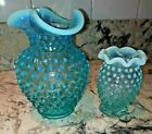 two Fenton Glass 5 and 3 1 2Blue Opalescent Hobnail Pattern Vase Crimped Top