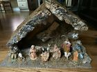 Vintage FONTANINI Depose Italy Nativity Set Stable Creche + 10 Figurines Figures