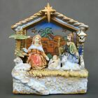 Nativity scene manger Christmas decorations stain glass ceramic music box VTG