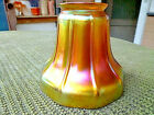 CARDER STEUBEN SIGNED GOLD AURENE RIBBED LAMP SHADE w SUPER IRIDESCENCE