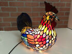 Beautiful Large Tiffany Style Stain Glass Iridescent Cast Iron Rooster Lamp