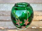 Art Glass Vase Green Floral Handmade Thick Glass Heavy Egg Shape Boho Hippie
