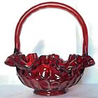 Vintage Fenton Ruby Red Thumbprint Glass Basket With Handle 7 7 8 Tall