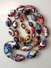 Vintage Venetian Murano Millefiori Floral Mosaic Glass Oval Beads Necklace Italy