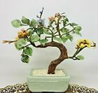 Vintage 95 Jade Glass Bonsai Tree Japanese Oriental Flower Blossom Ceramic Pot