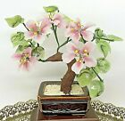 Vintage 9 Jade Glass Bonsai Tree Japanese Oriental Cherry Blossom Ceramic Pot