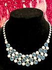 Vintage Blue Rhinestones With Milk Glass Beads Necklace Hook Closure 15