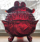 Germany BLEIKRISTALL Hofbauer Brydes Amberina Red Crystal Glass Covered Bowl
