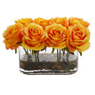 Artificial Silk Yellow Roses Clear Glass Oval Vase River Rock Faux Water 8 Roses