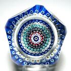 Large Whitefriars Early Faceted Six Ring Concentric Millefiori Paperweight