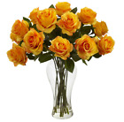 Dozen Yellow Artificial Silk Roses Tall Glass Vase Faux Water Floral Bouquet 18