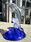 Clear Glass Dolphin Riding Crest of Blue Wave Stunning