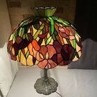 VINTAGE TIFFANY STYLE LEADED STAINED GLASS LAMP SHADE DOME FLORAL FLOWER 205