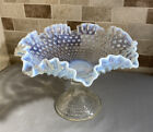 VINTAGE FENTON GLASS WHITE OPALESCENT HOBNAIL FOOTED COMPOTE BOWL 8 TALL