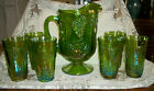 Vintage Indiana Carnival Glass Iridescent Lime Green Pitcher and Tumbler Set 7pc