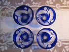 4  Cut To Clear Crystal Bohemian Cobalt Blue NUT Dishes Small Bowls