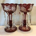 Antique Ruby Red Cut to Clear Bohemian Crystal Luster Grapevine Pattern  Prisms