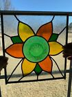 Leaded Stained Glass Window Panel Sunflower Pattern