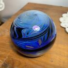 Beautiful Art Glass Paperweight Signed R Strong 76 Abstract Blue Black Swirl