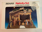 Vintage Sears Nativity Set of 9 Figures Wood Stable Made In Italy 32 97887 W Box