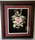 3D Art Pink Rose PAPER TOLE 12x14 with Babys Breath Ready to Display NOT a KIT