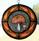 Stained Glass Hand Painted Kiln Fired Mushroom 1012 01