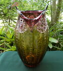 HAND BLOWN PURPLE AMBER ART GLASS LARGE 13 OWL VASE