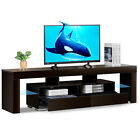 High Glass TV Stand 63 Entertainment Centre CD Cabinet for 70 TV Wood Brown