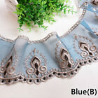 13M Embroidered Lace Trim Voile Tulle Trimming Mesh Sewing Craft Curtain Decor