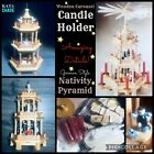 1994 Lillian Vernon 3 Tier Pyramid Nativity Wooden Carousel  Candle Holder